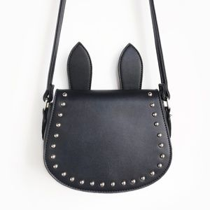 Handbags - 🖤 SUPER CUTE Black Faux Leather Studded Bunny Bag
